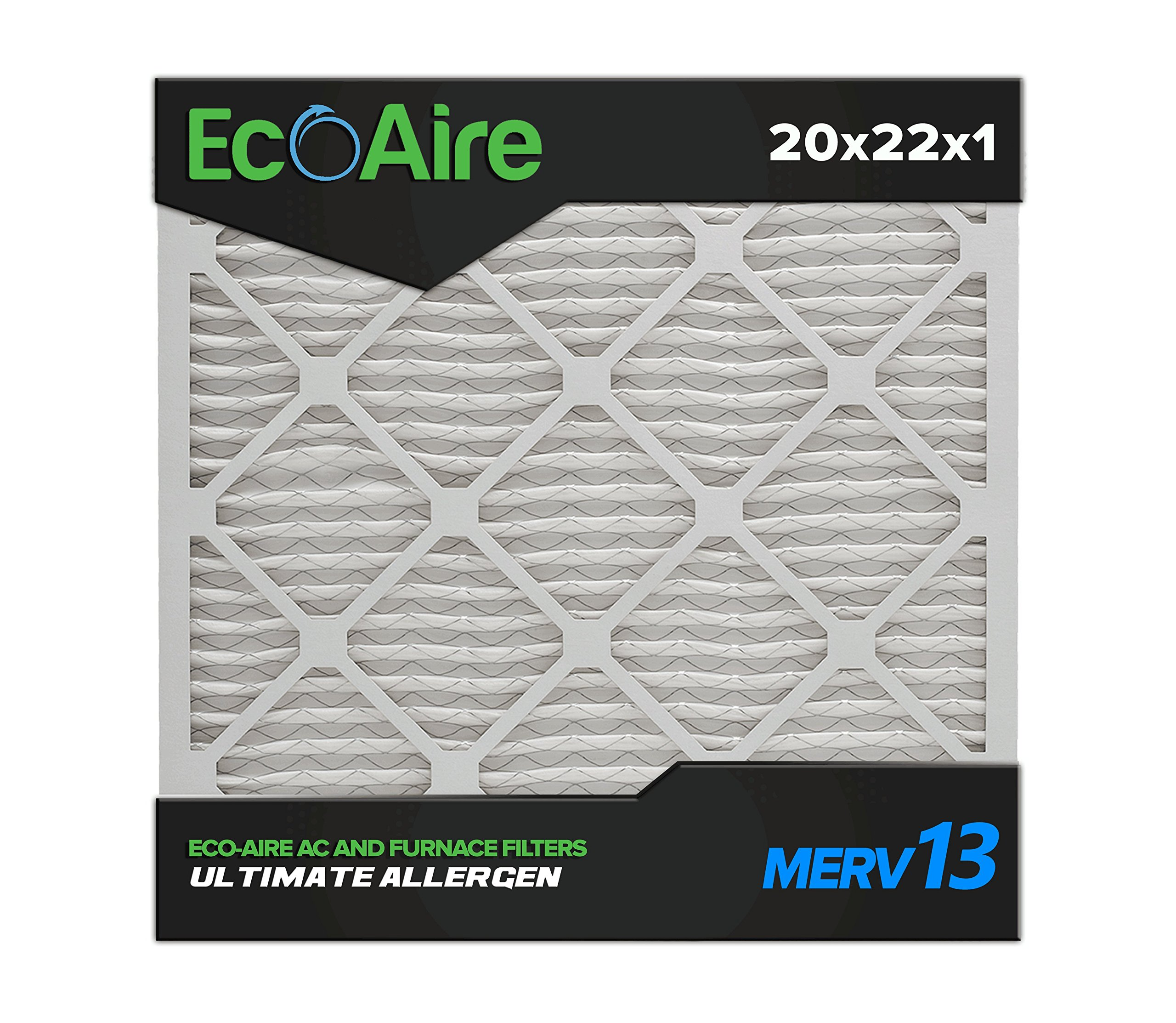 Eco-Aire 20x22x1 MERV 13, Pleated Air Filter, 20x22x1, Box of 6, Made in the USA