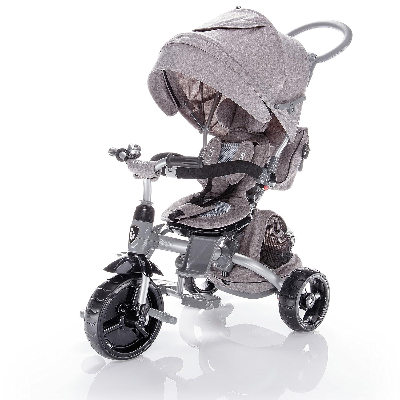 ZOPA Kinderdreirad citiGO - Kinderwagen Dreirad mit Elternlenkung und Ablagekorb - klappbares und abnehmbares Sonnendach, Sicherheitsgurte und Pedalverriegelung durch Knopfdruck - für Kinder von 10 Monaten bis 3 Jahren - mitwachsend (Farbe: Almond Beige)