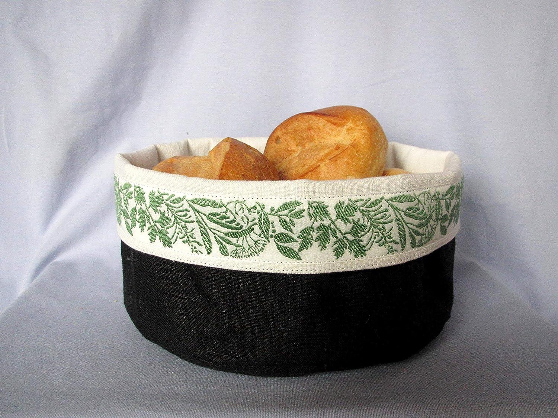 Utensilo, Stoffkorb aus handgewebtem Leinen mit Band mit Krätern, genäht, schwarz,weiß,grün genäht weiß grün