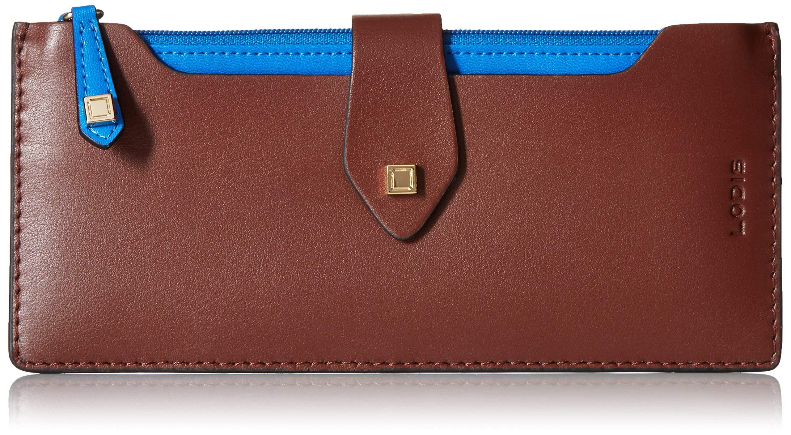 Lodis Blair Unlined Sandy Multi Pouch Wallet (Chestnut/cobalt) by Lodis