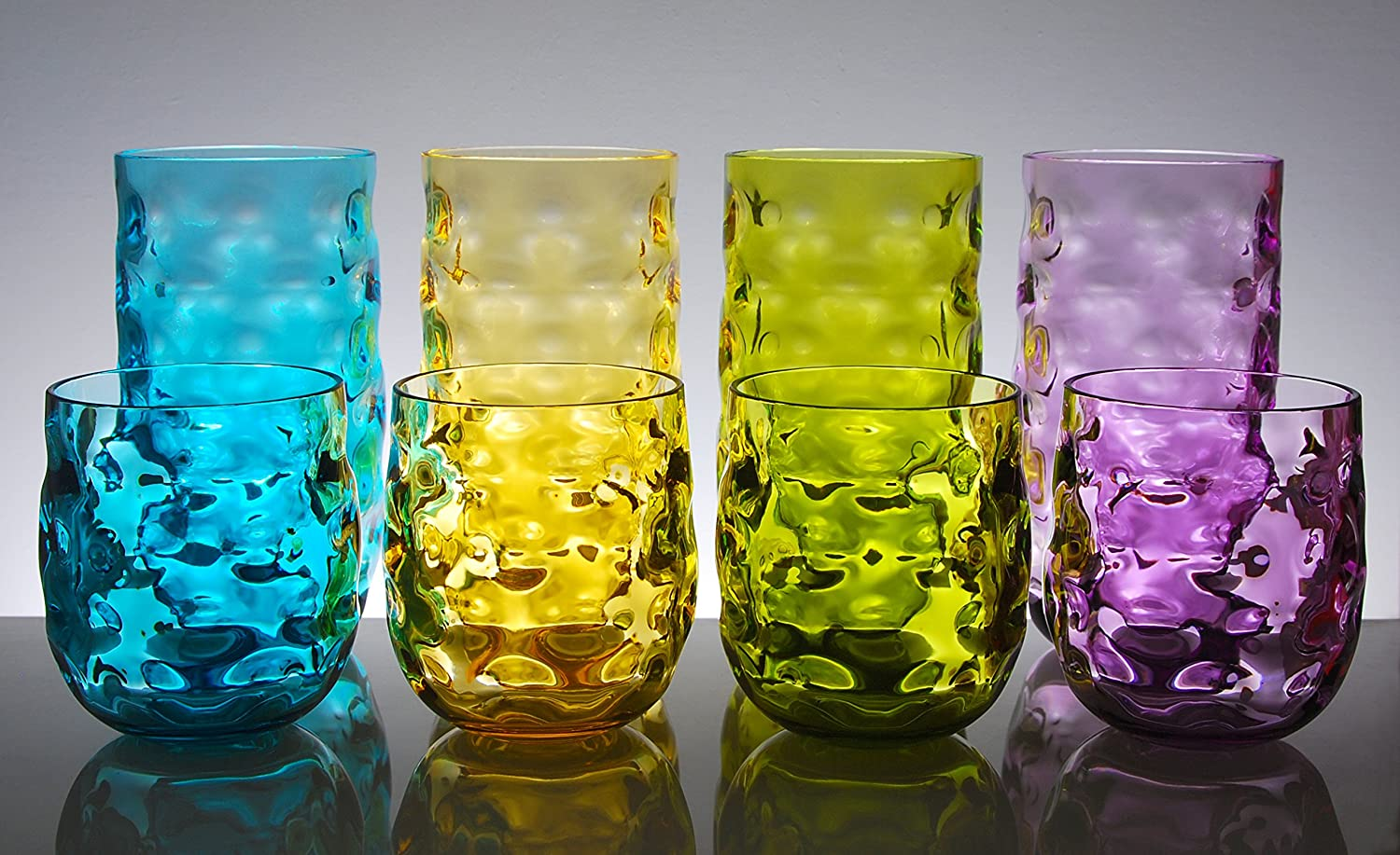 Cup Drinking Glass Tumbler Set of 8 in 4 Assorted Colors QG Clear Colorful Acrylic Plastic 14 /& 23 oz