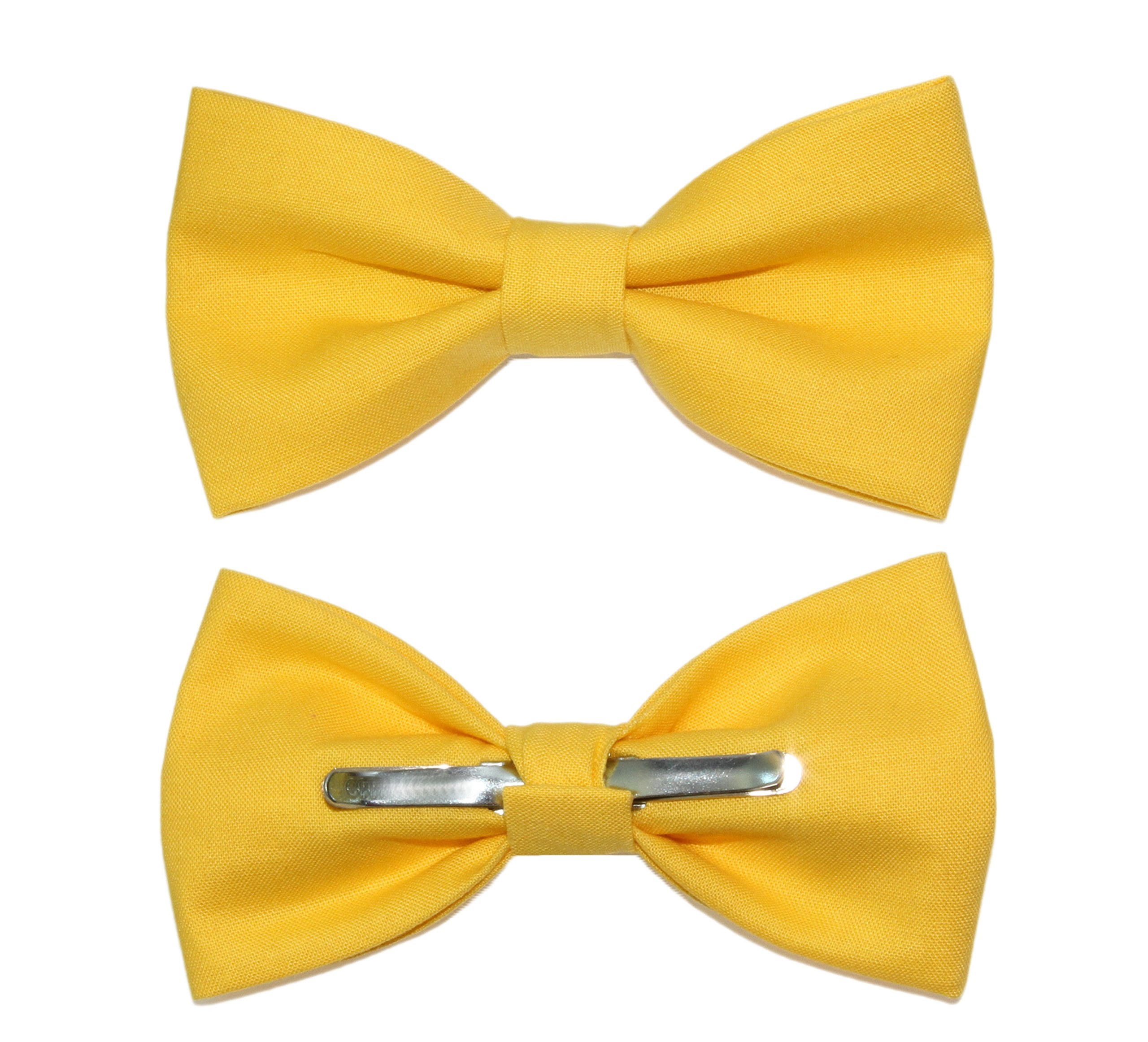 amy2004marie Men's Canary Yellow Clip On Cotton Bow Tie - Made in USA