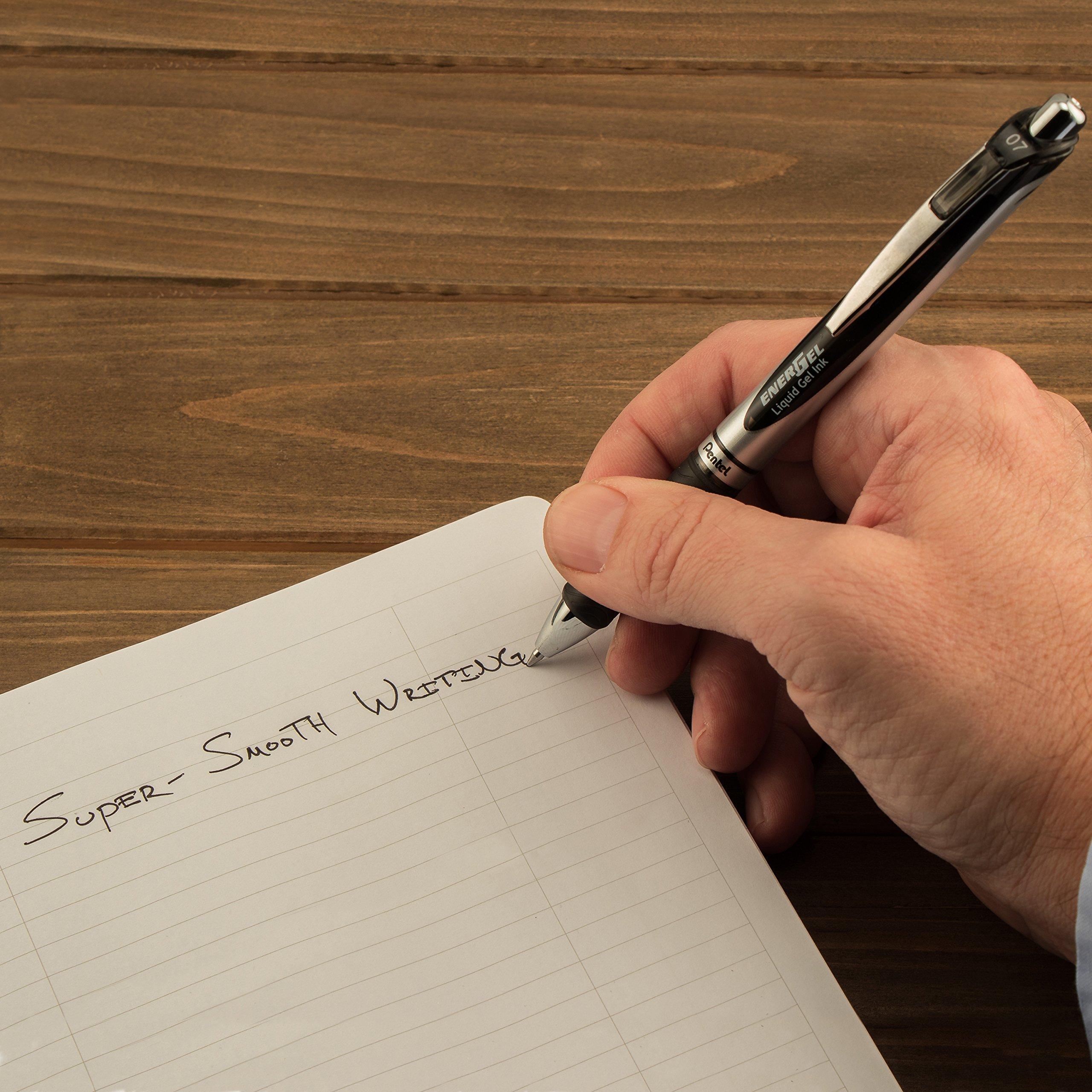 Pentel EnerGel RTX Retractable Liquid Gel Pen, 0.7mm Medium Line, Metal Tip, Black Ink, 12 Pack (BL77-A) by Pentel (Image #9)