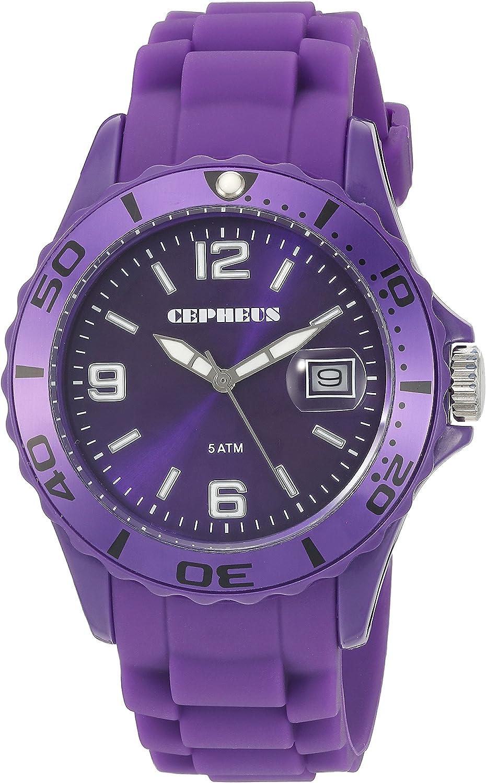CEPHEUS CP603-090A-1 - Reloj analógico de cuarzo para hombre, correa de silicona color morado