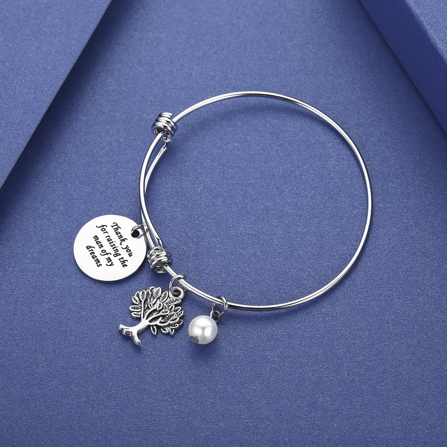 CJ&M Mother In Law Gift Family Tree Bracelet - Thank You For Raising The Man / I Will Take Care Of Her Always Bracelet Christmas Gifts,Mother's Day Gifts (Thank-Raising-Bracelet) by CJ&M (Image #2)