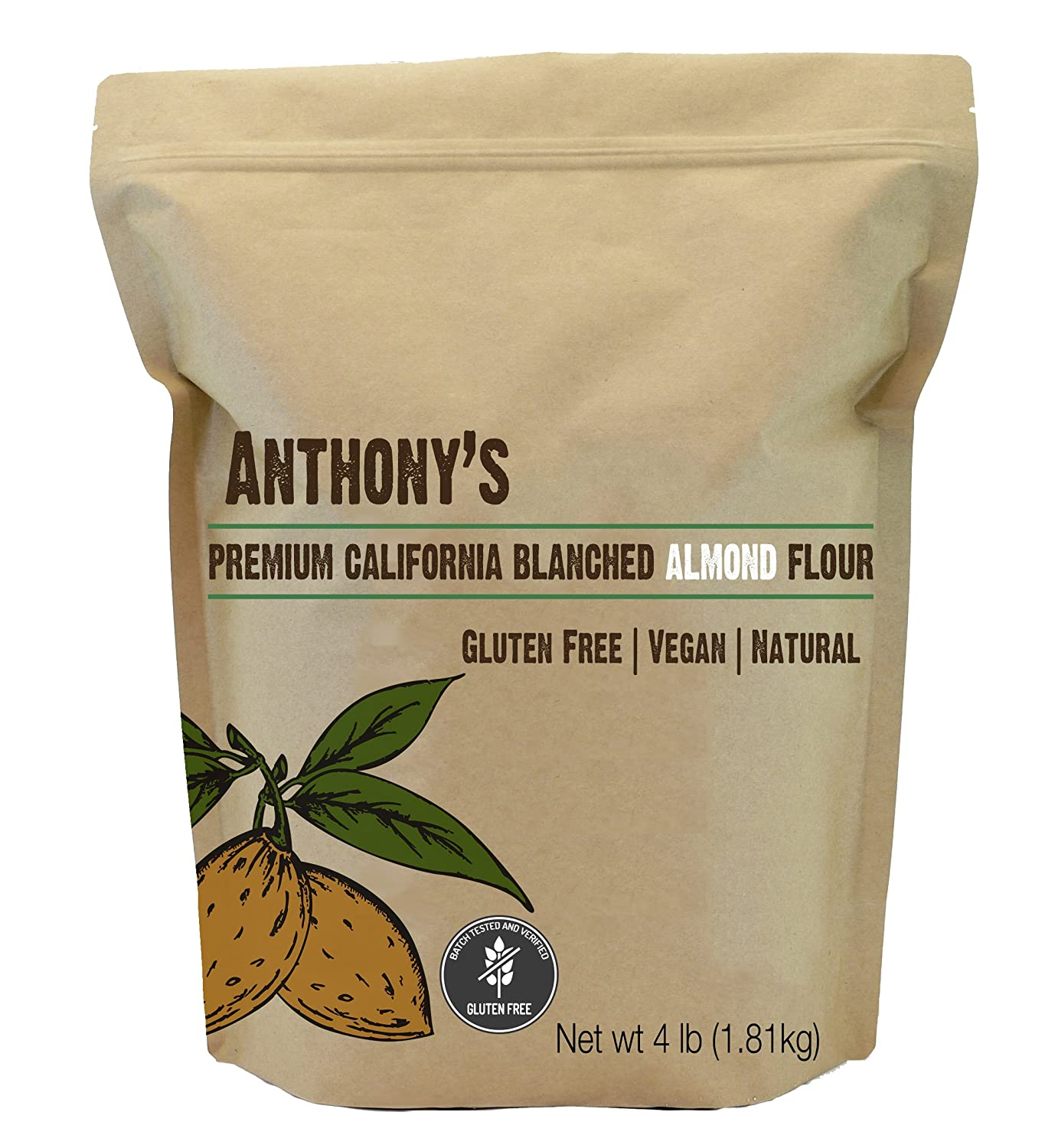 almond flour blanched anthonys 4lb bag batch tested gluten free