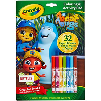 Crayola Color and Activity Pad with Markers, Beat Bugs Characters, Gift for Kids, Age 3, 4, 5, 6: Toys & Games