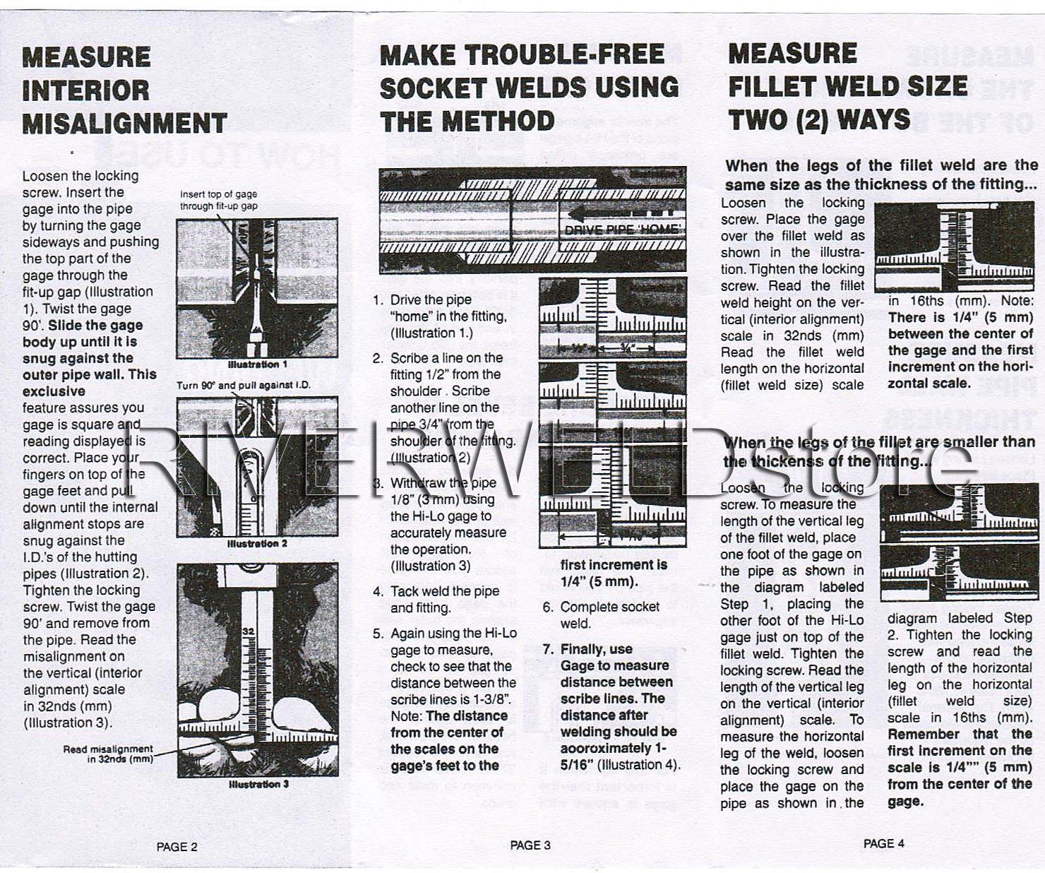 Hi Lo Welding Gauge Gage Test Ulnar Welder Inspection Gauge Both Inch and Metric