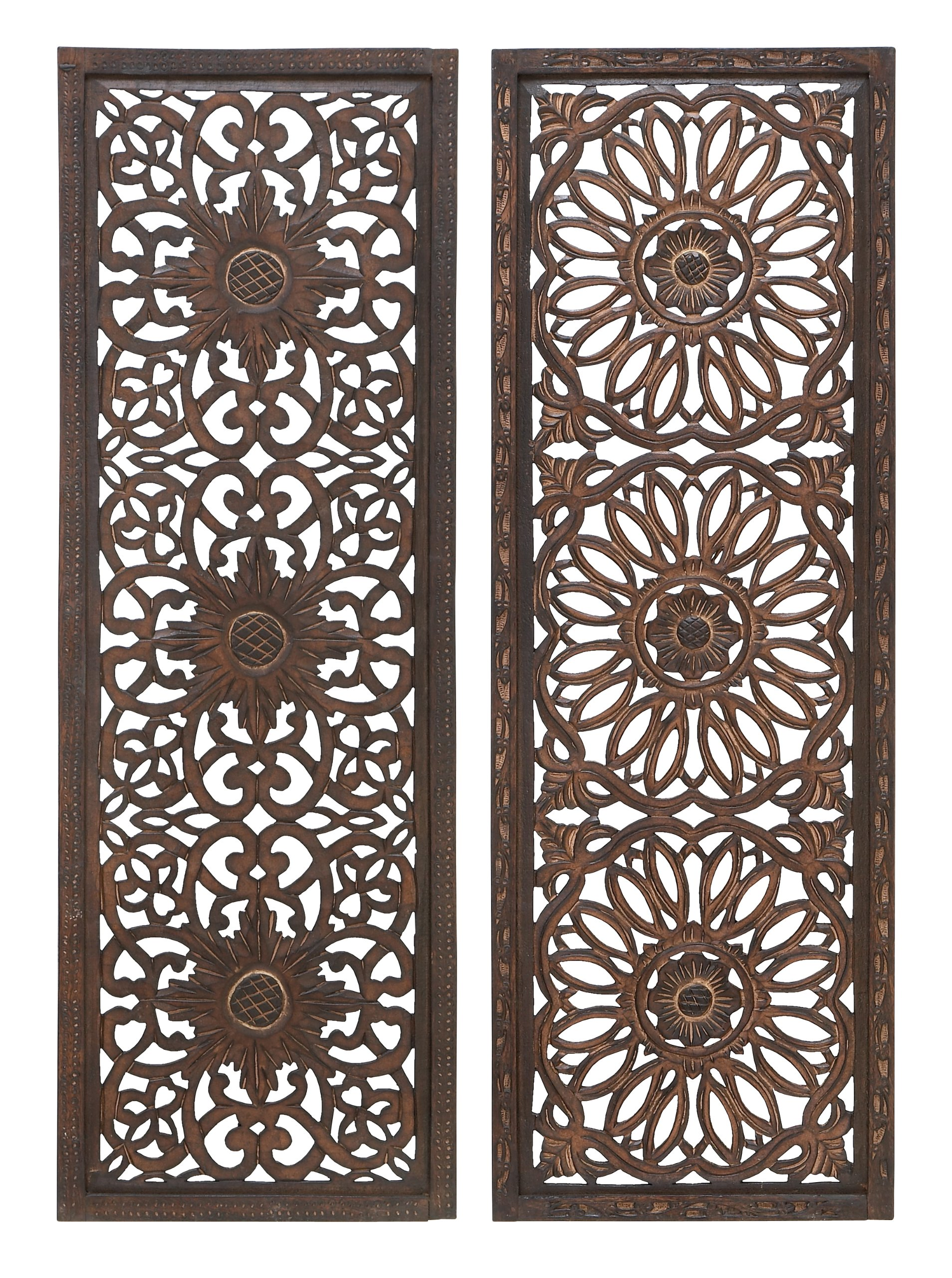 Deco 79 Set of 2 Wooden Wall Panels by Deco 79
