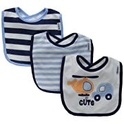 Gerber Baby Boys' 3 Pack Terry Dribbler Bibs, Transportation, One Size