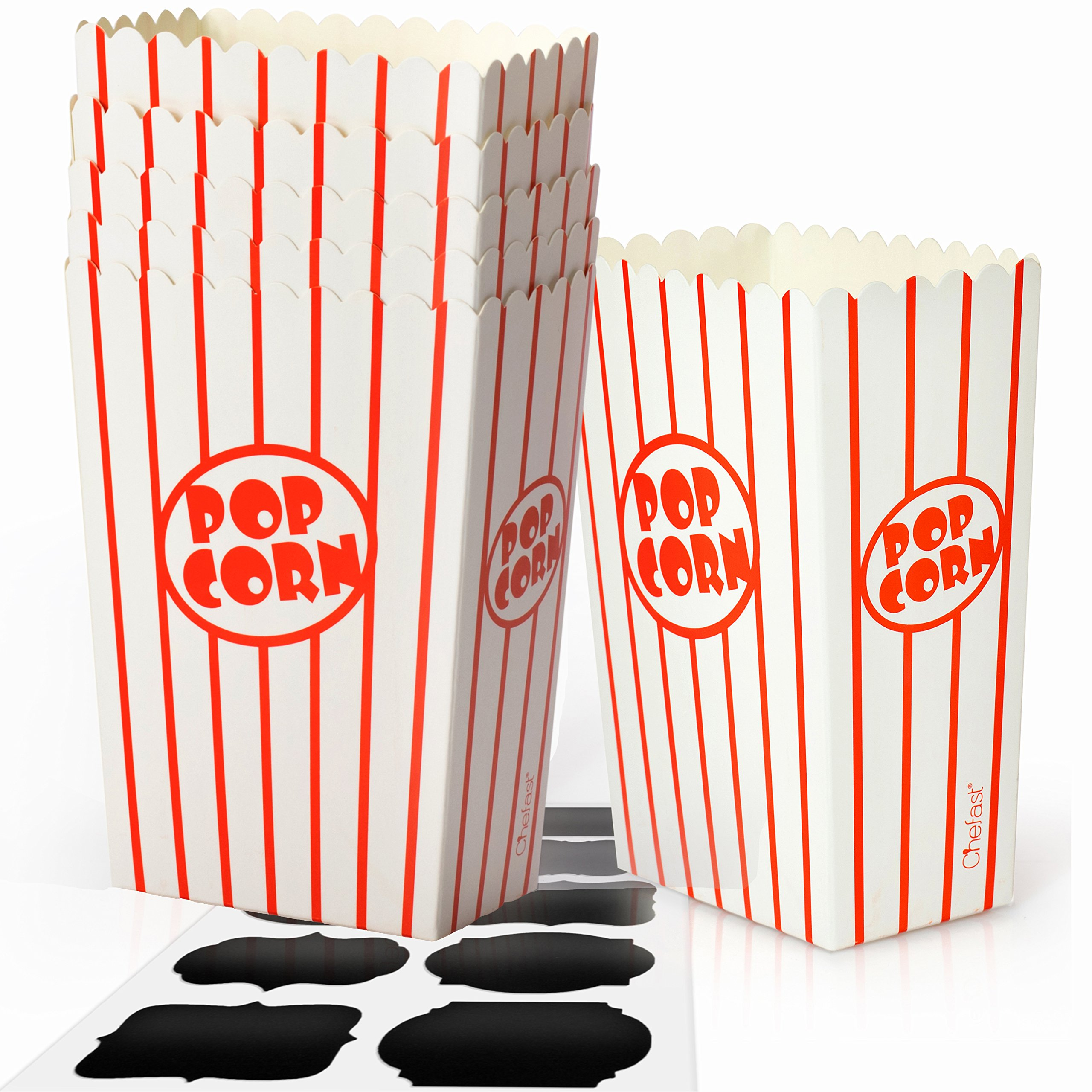 Chefast Small Popcorn Box Pack - 30x Red and White Striped Mini Boxes With 10x Chalkboard Stickers - Ultimate Party Favor - Perfect for Birthday and Theater Themed Parties, Movie Nights, and Carnivals by Chefast
