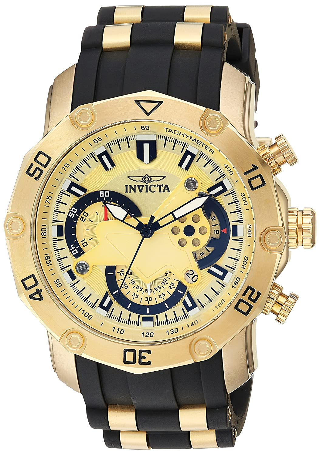 Invicta Men s Pro Diver Stainless Steel Quartz Watch with Silicone Strap, Black, 25 Model 23427
