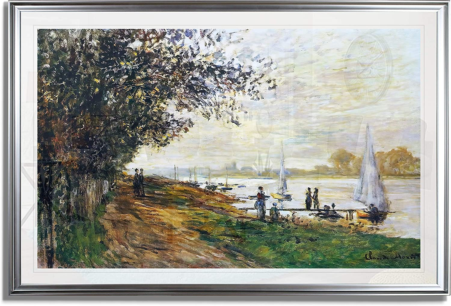 Monet Wall Art Collection The The Riverbank at Le Petit-Gennevilliers, Sunset, 1875 Fine Giclee Prints Wall Art in Premium Quality Framed Ready to Hang 24X34, Silver