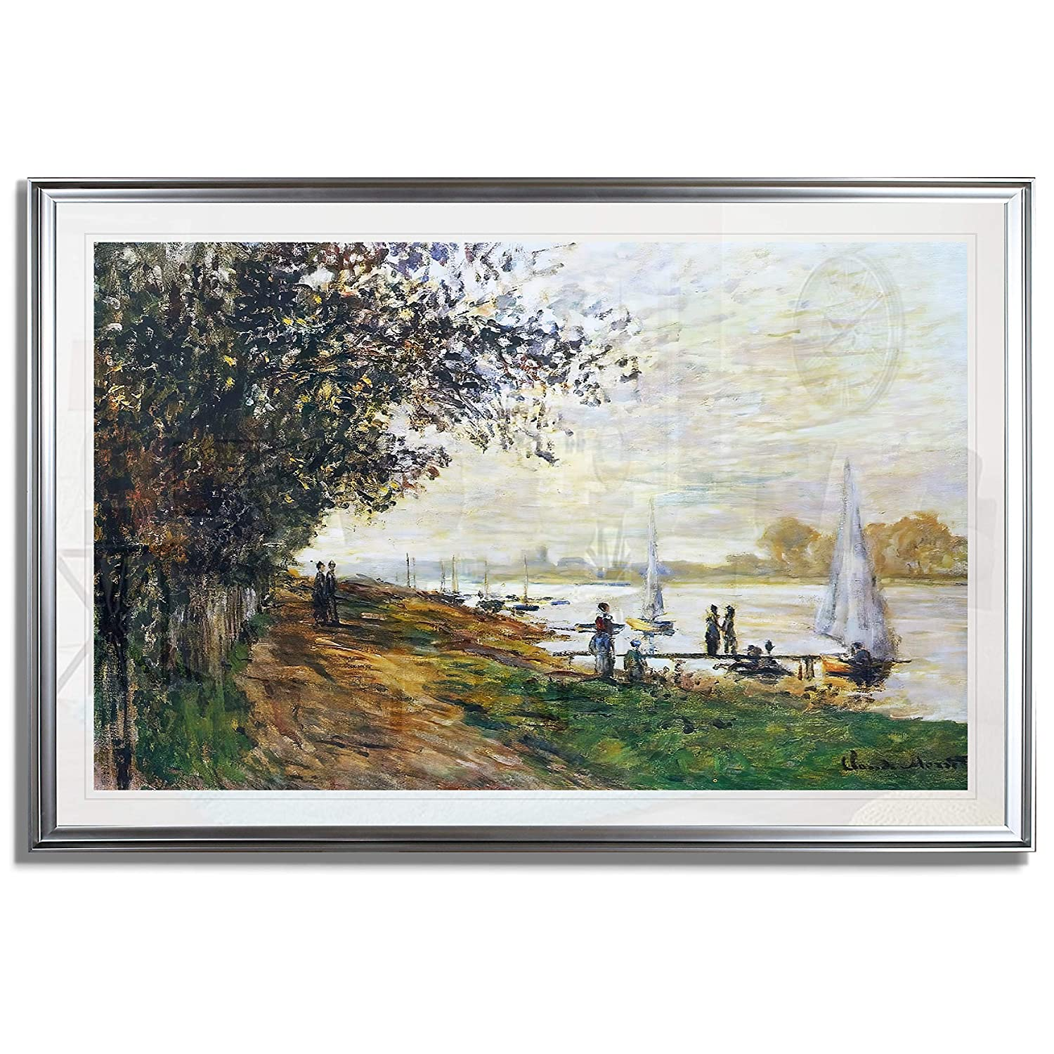Monet Wall Art Collection The The Riverbank at Le Petit-Gennevilliers, Sunset, 1875 Fine Giclee Prints Wall Art in Premium Quality Framed Ready to Hang 20X28, Silver
