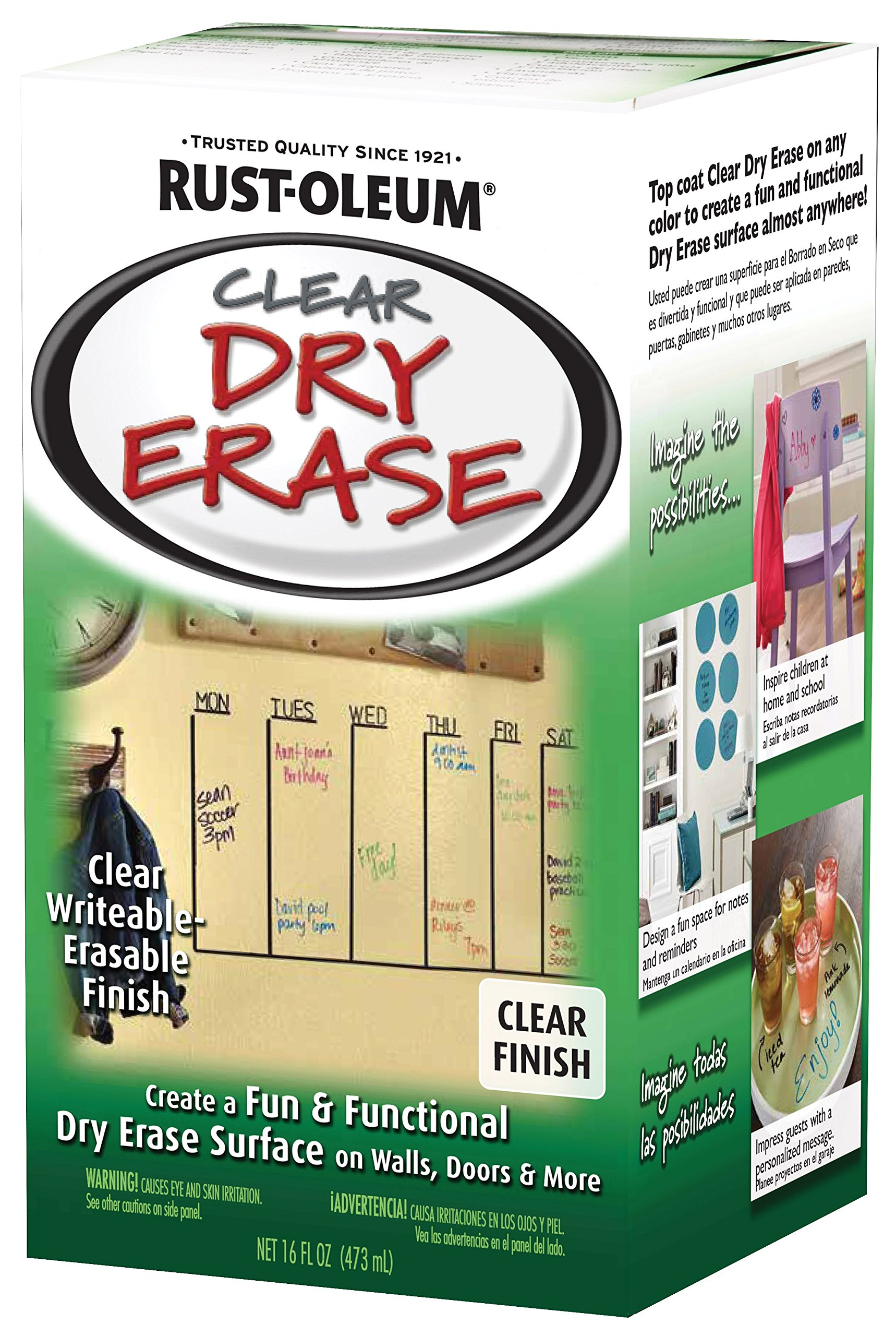 Rust-Oleum 284637 Specialty Dry Erase Kit, 16-Ounce, Clear