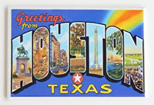 Greetings From Houston Texas Fridge Magnet (2 x 3 inches)