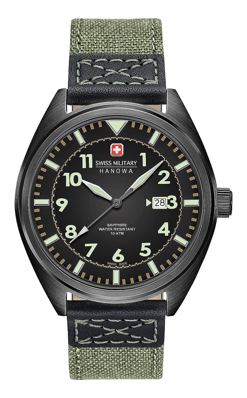 Swiss Military SM34521AEU/H01 - Reloj de cuarzo para hombres con esfera negra y correa verde de tela