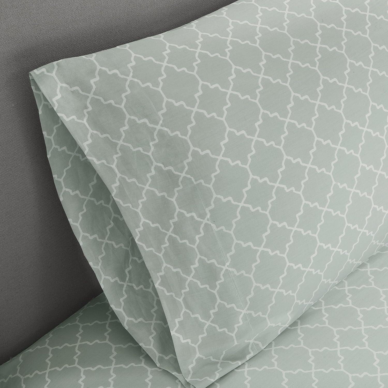 Madison Park Essentials Merritt Twin XL Size Bed Comforter Set Bed in A Bag Ultra Soft Microfiber Bedroom Comforters Aqua Geometric 7 Pieces Bedding Sets
