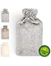 Blumtal Hot Water Bottle with Cover; Premium Faux Fur Cover; Large 2L Capacity; Brown/White/Grey