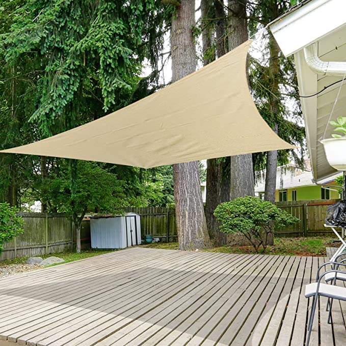 cour f/ête /écran solaire respirant plage et UV jardin terrasse Voile dombrage rectangulaire et carr/é beige 3 m x 3 m Auvent imperm/éable pour ext/érieur