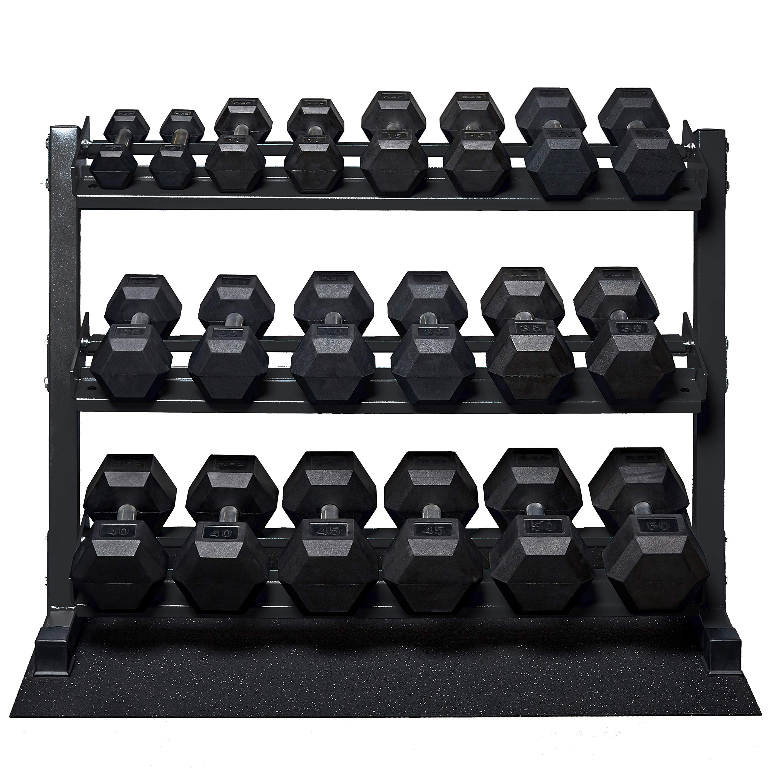 Rep Rubber Hex Dumbbell Set with Racks, 5-50 Set, 5-75 Set, 5-100 Set, 2.5-27.5 Set, 55-75, 80-100, or 105-125 Set. Available with and Without Racks. (OptionA: 5-50withMetallicBlackStand)