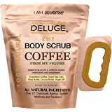 DELUGE - 100% Natural Coffee Body Scrub, Tightens, Tones, Reduces Cellulite 10 OZ with Organic Ingredients – Best for Stretch Marks , Acne , Anti Cellulite & Spider Vein Therapy & Eczema