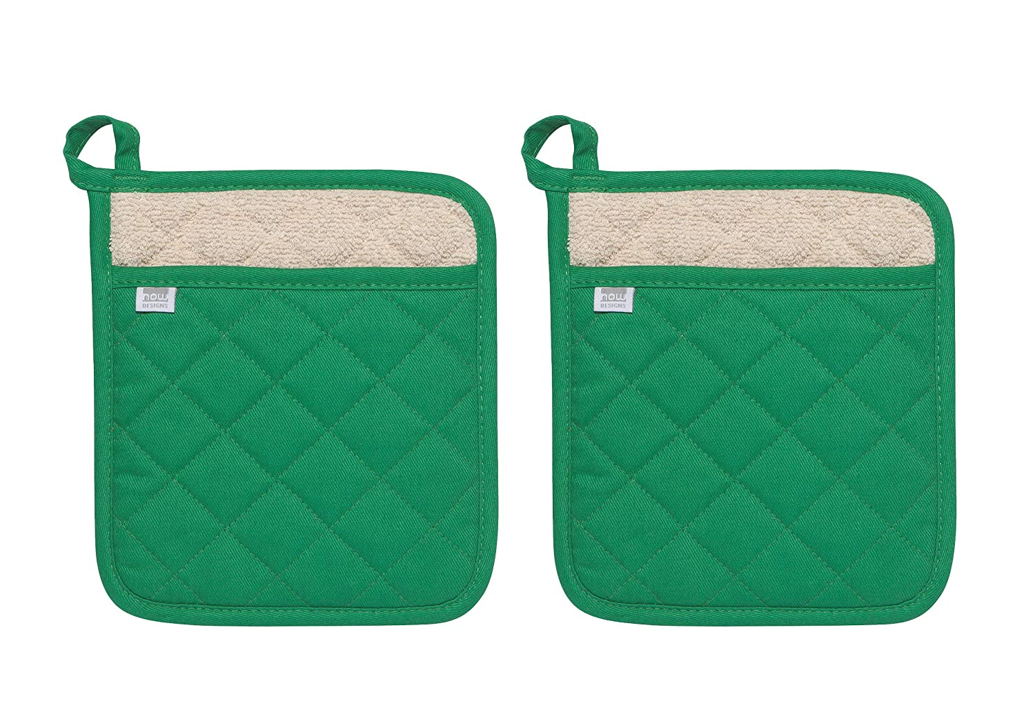 Now Designs 506614aa Superior Potholders, Set of Two, Greenbriar Green