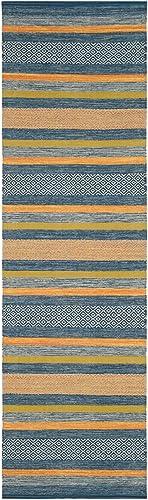 Safavieh Montauk Collection MTK213A Blue and Orange Runner 2 3 x 8