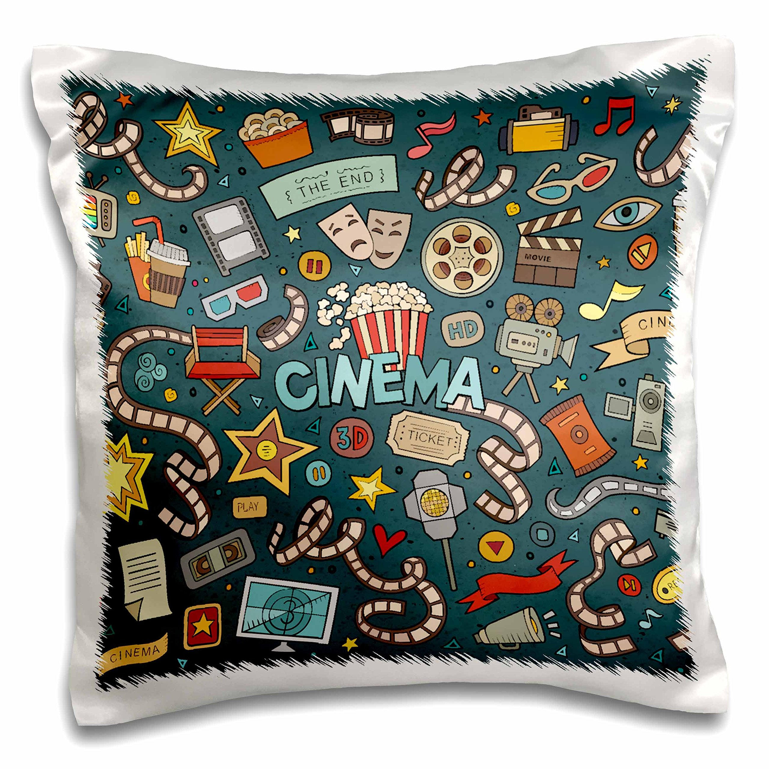 3D Rose Cinema Fan Goer Cute Illustration Movies Silver Screen Pillow Cases, 16'' x 16''