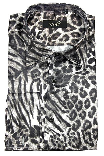 ae4b83646e2f Mens Premium Animal Print Satin Double Cuff Dress Shirt S M L XL XXL 3XL 4XL