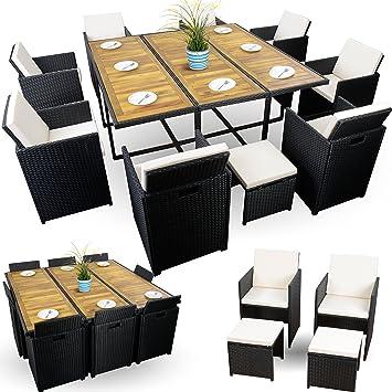 Amazon De Rattan Sitzgruppe Fur Garten Polyrattan Set 8 Stuhle