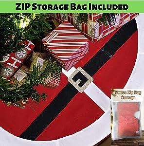 WDS Premium Fleece Christmas Tree Skirt (48 Inch) + Zip Storage Bag - Scratch Free - Santa Belt Suit Design w/Real Belt Loop - Great Xmas Gift - Large Skirts Fits All Trees