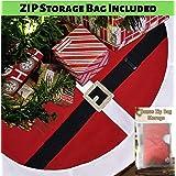 WDS Premium Fleece Christmas Tree Skirt (48 Inch) + Zip Storage Bag - Scratch Free - Santa Belt Suit Design w/Real Belt Loop
