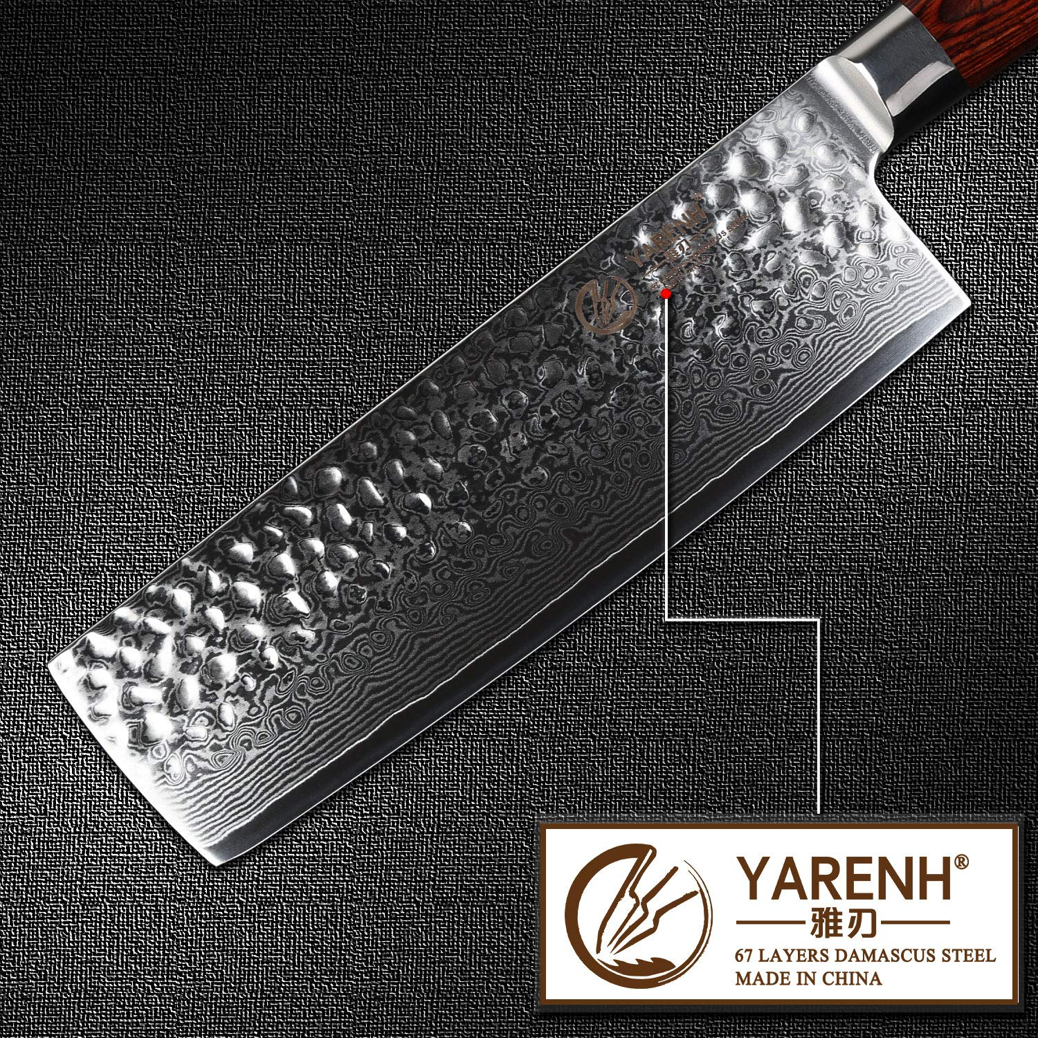 Yarenh Vegetable Knife 6.5 inch,High Carbon Japanese Damascus Steel Blade Professional chef knife,Sharp Home Kitchen Knives,Pakka wood Handle,Gift Box Packaging,Gyuto Knife HYZ-Series by YARENH