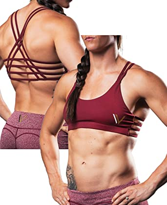 45ef132116cba Vull Sport Caged Sports Bra - Maroon at Amazon Women s Clothing store