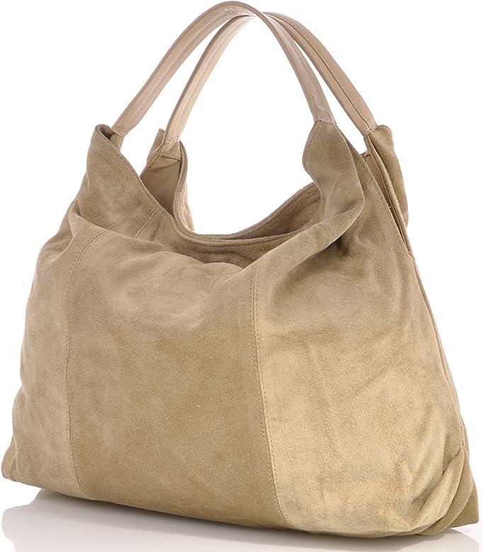 Damen Handtaschen Shopper Hobo Bags Trend Bags Velours Leder Tasche Camel, Beige 41x33x10 cm (B x H x T)