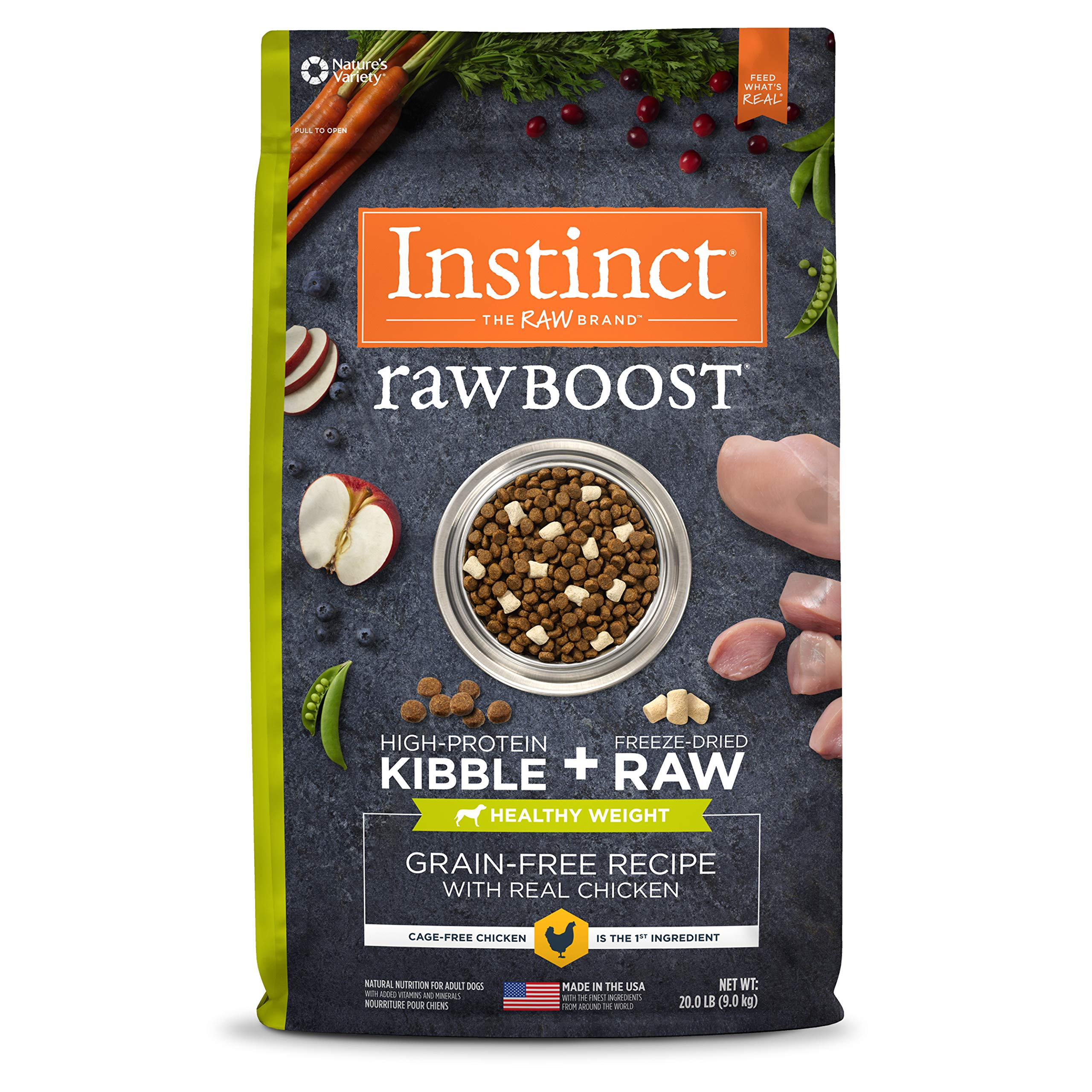 Instinct Raw Boost Healthy Weight Grain Free Recipe with Real Chicken Natural Dry Dog Food by Nature's Variety, 20 lb. Bag by Instinct