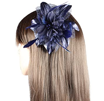 prom for weddings races Navy blue flower fascinator on a comb
