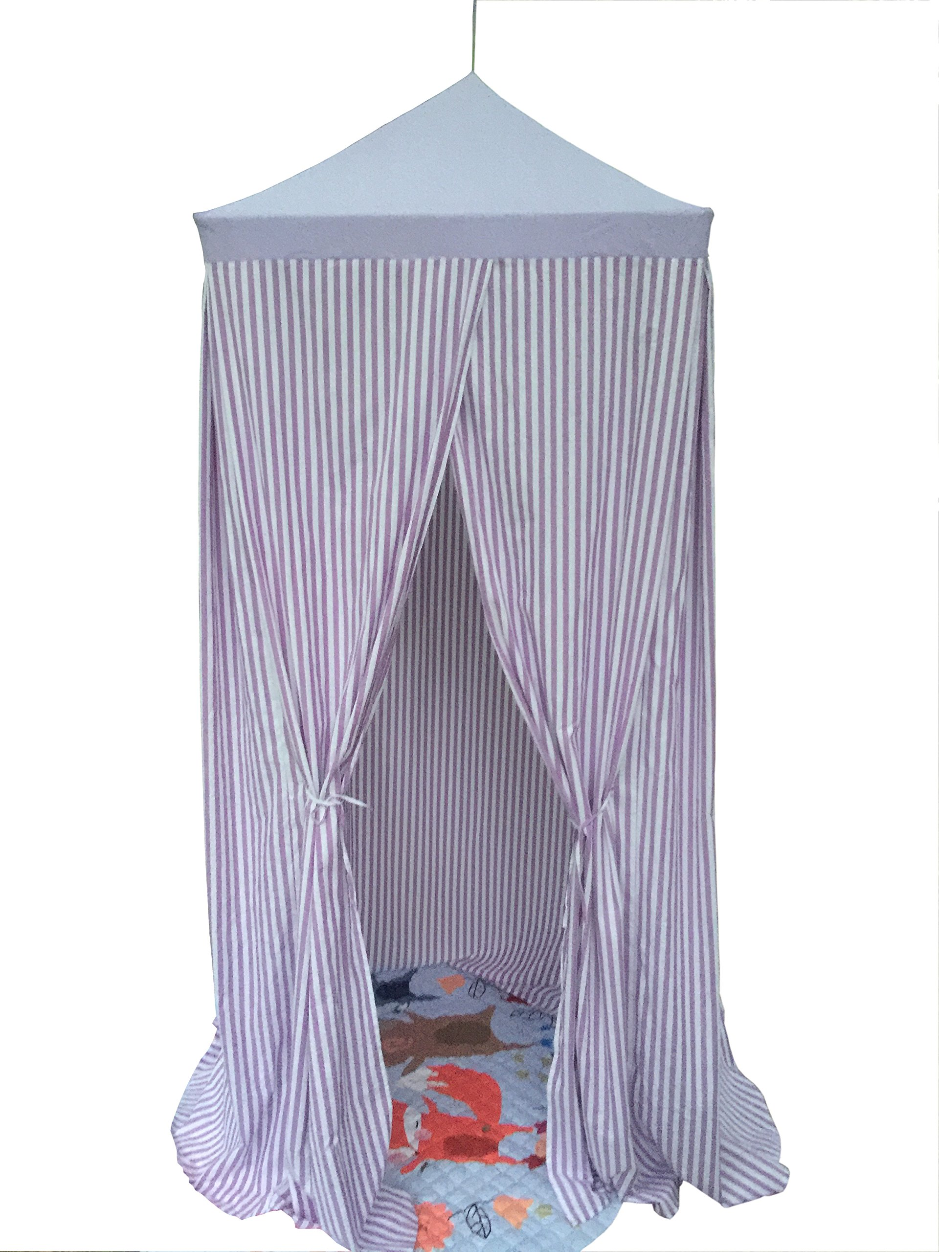 Pericross 7'9'' Square Baldachin Kids Reading Play Tent with Dual Windows (Purple Stripes)