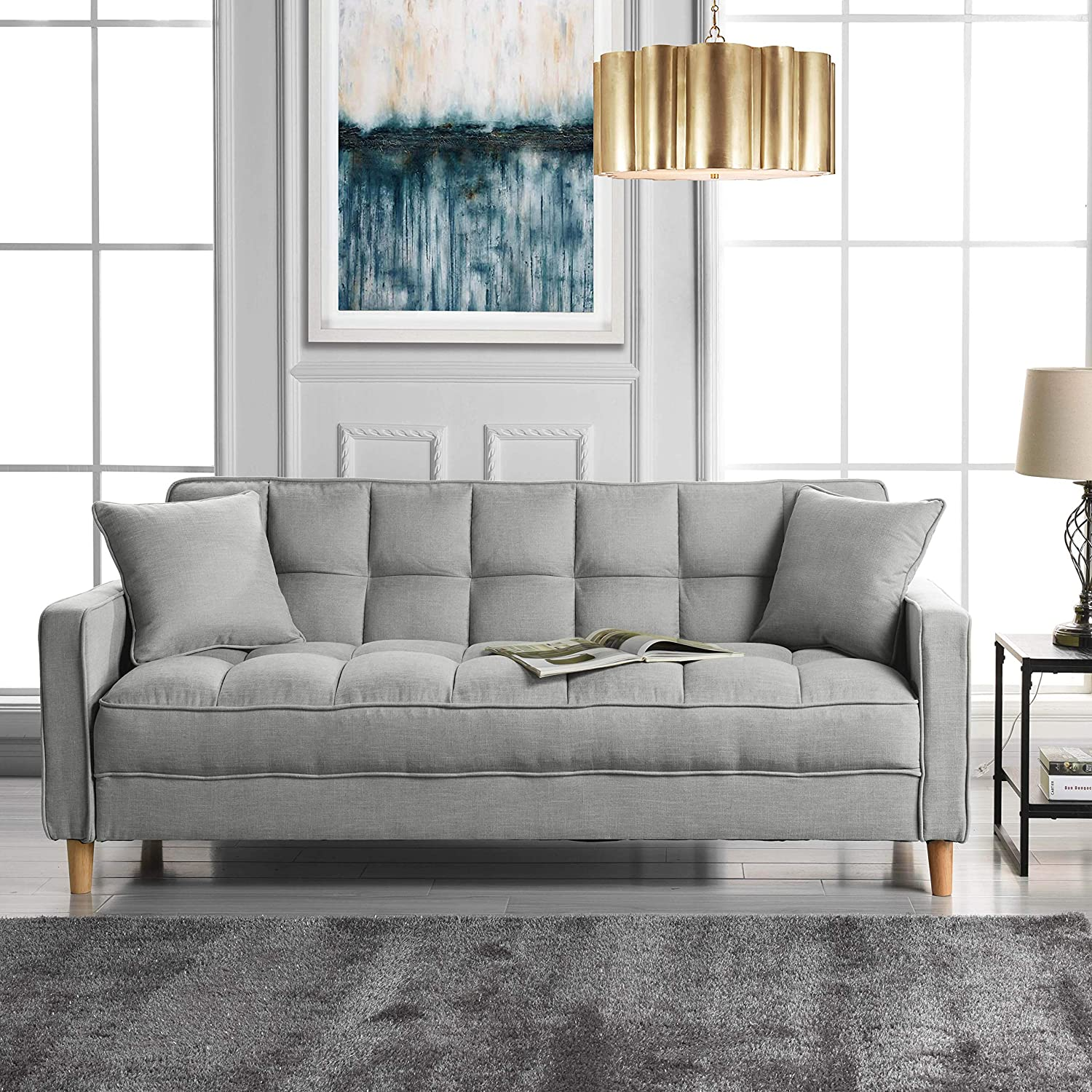 Amazon com modern linen fabric tufted small space living room sofa couch light grey kitchen dining