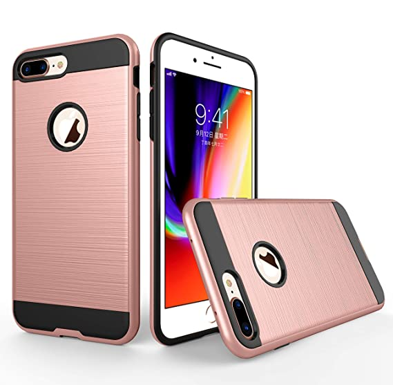 lowest price a6a11 26117 iPhone 7 Plus Case, iPhone 8 Plus Case, Brushed Texture Heavy Duty Full  Cover Protection Tough Case for iPhone 7 Plus/iPhone 8 Plus 5.5 inch (Rose  ...