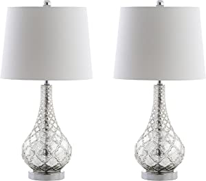 "JONATHAN Y JYL1077A-SET2 Darren 25.5"" Glass LED Lamp Contemporary,Transitional for Bedroom, Living Room, Office, College Dorm, Coffee Table, Bookcase, Mercury Silver, 2 Piece"