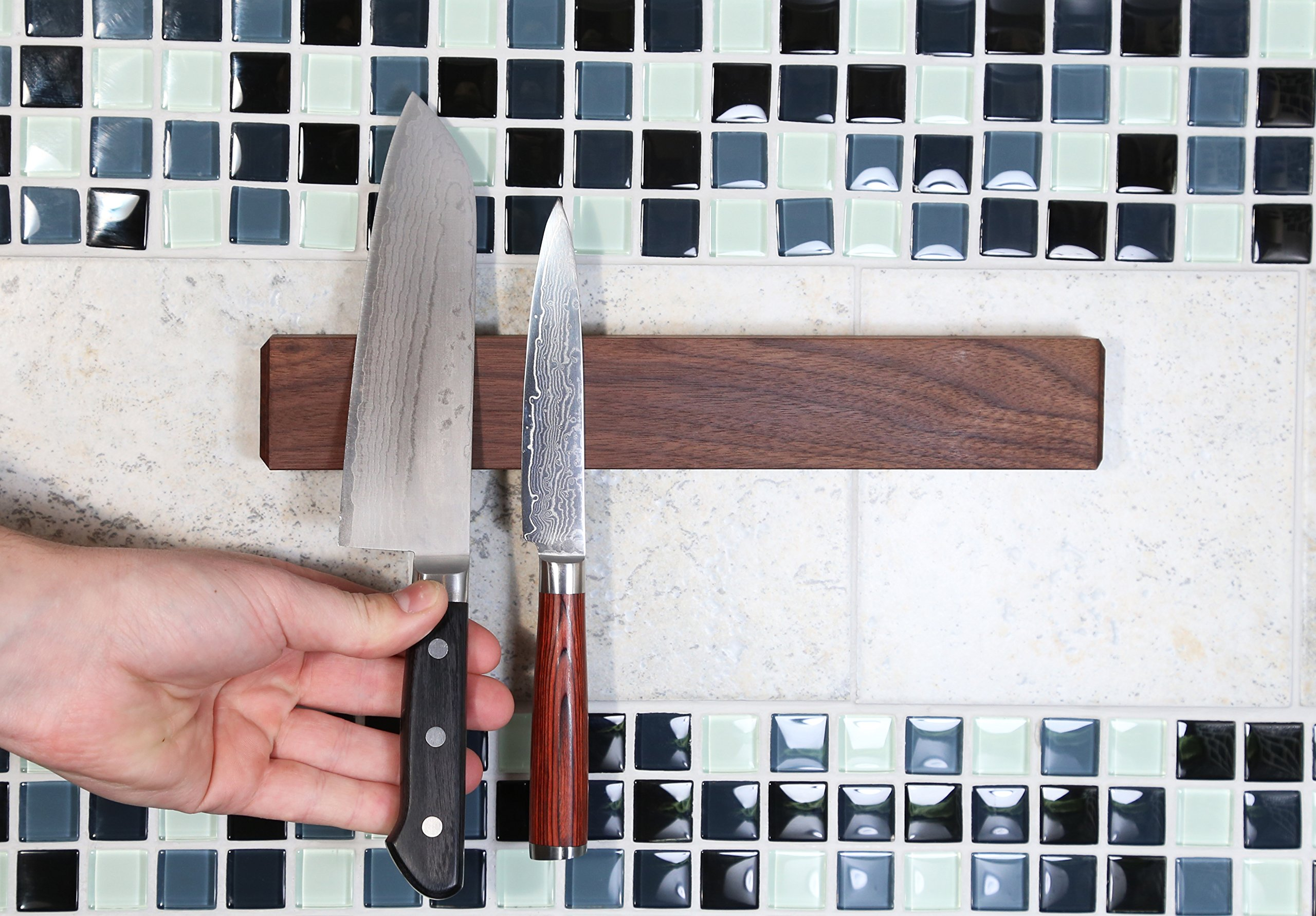 Walnut Magnetic Knife Holder with Multi Purpose Functionality as Knife Magnet, Knife Strip, Magnetic Organizer- Securely Holds Your Knives & Keeps Your Kitchen Organized- Made in USA- 12 Inch by Kurouto Kitchenware (Image #4)