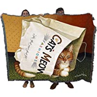 Pure Country Weavers - Purrfect Cats Cat Woven Tapestry Blanket with Fringe Cotton USA 72x54 Bag