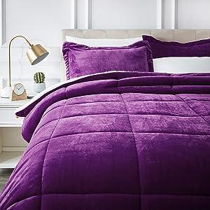 AmazonBasics Micromink Sherpa Comforter Set - Ultra-Soft, Fray-Resistant -Full/Queen, Plum