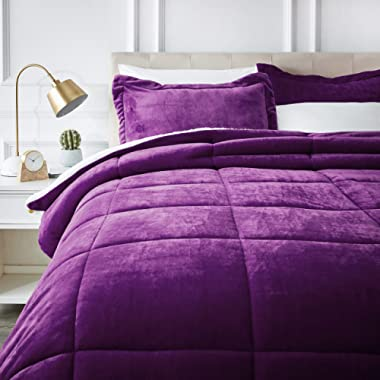 AmazonBasics Micromink Sherpa Comforter Set - Ultra-Soft, Fray-Resistant -  Full/Queen, Plum