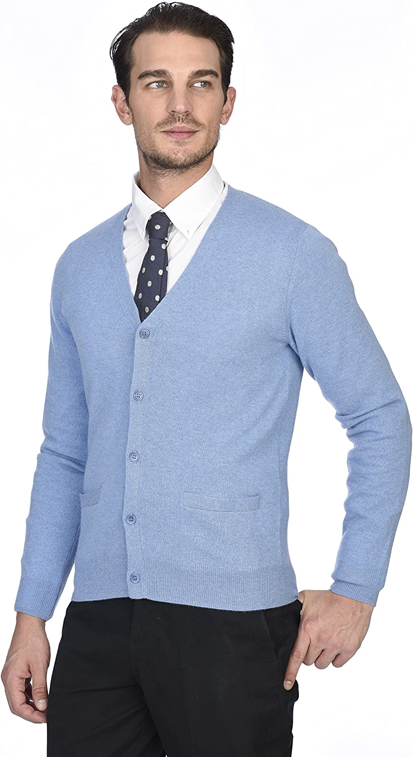State Cashmere Mens 100/% Pure Cashmere Button Front Long Sleeve Cardigan Sweater
