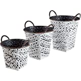 Stone & Beam Rustic Farmhouse Decorative Metal Storage Bins - Set of 3, Black with Antique White Finish