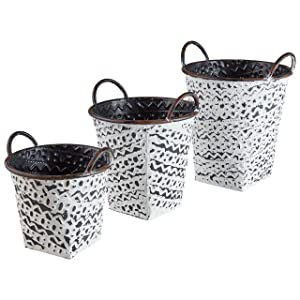 Stone & Beam Rustic Metal Bins, Pack of 3, Black with Antique White Finish