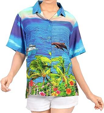 Mujeres Ropa de Playa de Cuello con Botones de la Blusa de la Camisa Hawaiana de Manga Corta de Las se�Oras Superiores Azules: Amazon.es: Ropa y accesorios